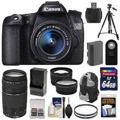 Canon EOS 70D Digital SLR Camera & EF-S 18-55mm IS STM Lens with 75-300mm Lens + 64GB Card + Battery & Charger...