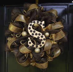 New Orleans Saints Colored Deco Mesh Wreath with a Decorative Letter, the best of both worlds!