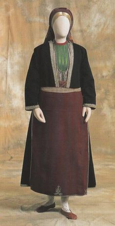 Greek Men, Gold Embroidery, Thessaloniki, Costumes For Women, Two By Two, Black Leather, Traditional, Cotton, How To Wear