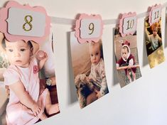 This pink and gold 12 months banner is ideal to show your little ones first year journey month by month. It will give the magical touch to your party. You can hang it up on a wall or just around the table. HOW TO ORDER: Please select colour or rear scallops, ribbon and bows from option