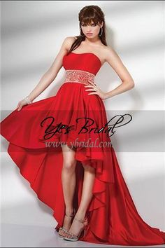 Short Strapless Red Gown Dress