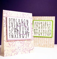 Alphabet Soup - Video: Word Search Stitched Cards - The Alley Way Stamps — Michelle Yuen Design