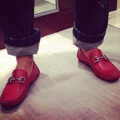 Make a Statement w/ Red Ferragamo Shoes #Ferragamo #Loafers