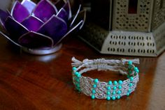 Square Knot Macramé & Turquoise Beaded Hemp by TravelingSeven
