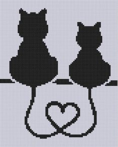 Cat Heart Cross Stitch Pattern Size on 14 count roughly 6 X 7.5 Includes Cross Stitch Tips