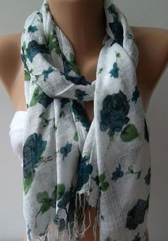 Shawl for Summer /Turquoise  Roses  Elegance Shawl / by womann,