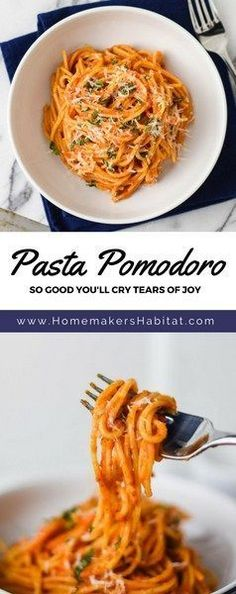 This Pasta Pomodoro recipe combines tomatoes, basil and butter into the most velvety, flavorful sauce ever. Everyone will love it.