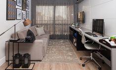 Um apartamento pequeno, com apenas 56m2. Idealizado pelas arquitetas Monica Larsson e Inah Mantovani, o espaço tem decor masculino e tons sóbrios. Vem ver!