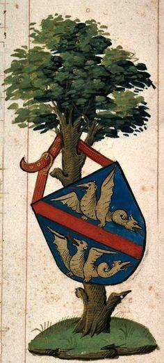 Armes d'un membre de la famille Baillet (f°2) -- Troyes, Bibl. mun., Ms 786.