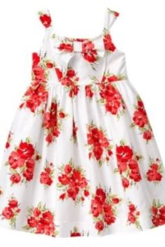 Janie and Jack Camellia Summer red floral bow colorful dress 6-12 Months HTF
