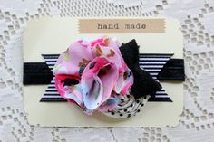 Black White and Pink Baby Girls Toddler Headband by TheSnootiePig, $12.99
