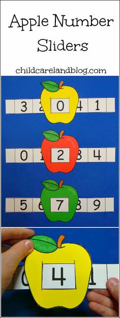 This week's free printable is Apple Number Sliders which is a great activity for… Numbers Preschool, Learning Numbers, Math Numbers, Preschool Lessons, Preschool Learning, Early Learning, Teaching Math, Apple Activities, Autism Activities
