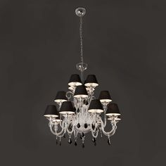Lámpara de techo colgante para interior y de diseño modelo Murano con bombillas LED en color negro.
