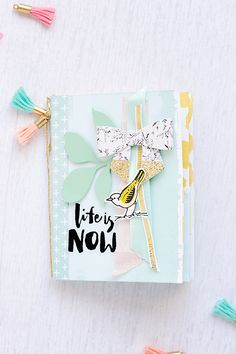 tag holder mini album with October kits from Gossamer Blue