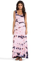 NWT $187 Chaser Deep Armhole Maxi Tie Dye Pink Blue Full Length Maxi Dress S M L