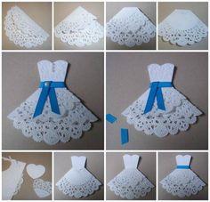 Petite robe avec un napperon en papier avec tuto en images                                                                                                                                                                                 Plus