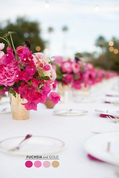 Bougainvillea Wedding Inspiration - Style Me Pretty Wedding Centerpieces, Wedding Table, Wedding Bouquets, Wedding Decorations, Camp Wedding, Hot Pink Centerpieces, Wedding Favors, Wedding Dresses, Flower Bouquets