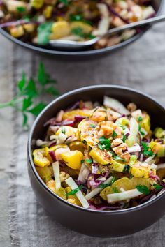 This roasted delicata squash salad is a superfood extravaganza! I've tossed it together with walnuts, apple, cabbage, and quick-pickled red onion dressing. (Yeah, I'm a total rebel and made the dressing in the microwave.)