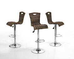 Barstuhl Edi Barhocker tricolor Material: Gestell:  Stahlrohr verchromt Sitz:  PE-Geflecht Maße: B/H/T ca. 40 x 94 - 115 x 45 cm Sitz: ca. 40 x 45 cm...