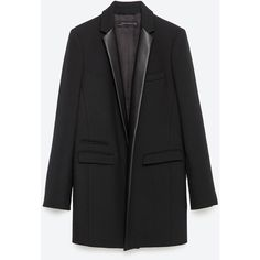 Zara Combined Lapel Frock Coat ($169) ❤ liked on Polyvore featuring outerwear, coats, black, lapel coat, black coat and zara coat