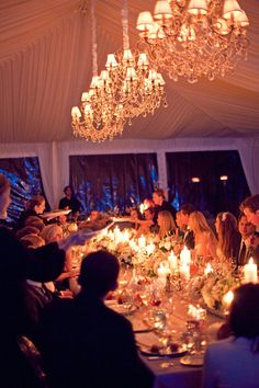 such an intimate reception - love the idea of one big table lined with candles