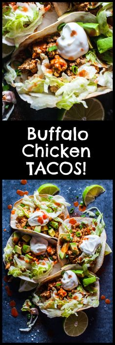 Buffalo chicken tacos – your favorite hot wing sauce is here to kick your tacos up a notch! These tacos only take 25 minutes and are a real crowd pleaser. Pin for later :)