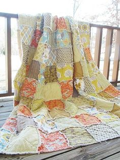 Modern rag quilt-such calming colors