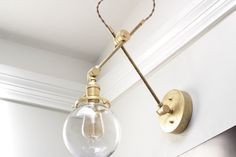 "Brass Articulating Adjustable Industrial Wall Lamp with 6"" Glass Globe Gold Brass Boom Light Pharmacy Edison"