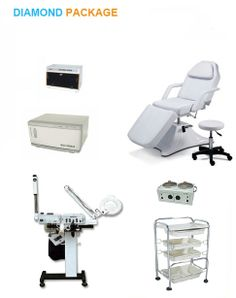 Diamond Package $1500. Stool, 8 in 1 unit (Woods Lamp, Mag Lamp, Spray, Vaccum, Facial Brush, High Frequency, Galvanic, Steamer), UV sterilizer, Trolley, Double Waxer, Hot Cabbi.