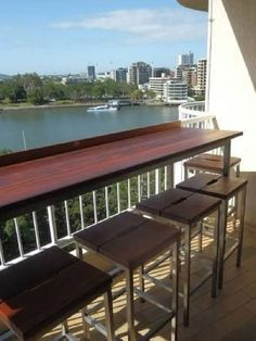 Large Balcony Bar – Australian Garden Furniture Co. (AGFC) - All About Balcony Condo Balcony, Apartment Balcony Decorating, Outdoor Balcony, Apartment Balconies, Rooftop Deck, Cozy Apartment, Terrace, Outdoor Decor, Balcony Gardening