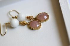 NonnaSoul 24K gold plated earrings with rose quartz and white onyx $60.00
