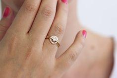 Bague en diamant Fan avec Pave diamants or massif 18 par artemer