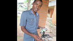 Malawian physics student Mixon Faluweki. He realised that although only 11% of rural households in his country are connected to the electricity grid, 47% own a bicycle. So he came up with a device that can charge a cell phone using just pedal power.