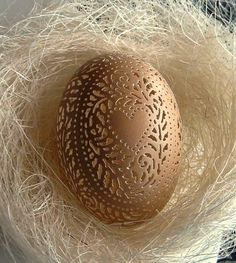 Hand Carved Victorian Lace  Brown Chicken Egg: Hearts and Flowers.