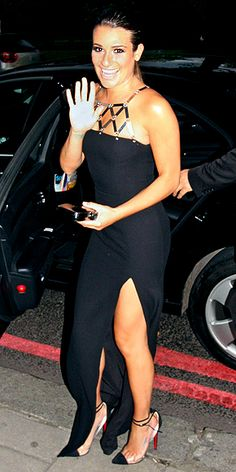 Lea Michele, dress/shoes   Cut it a chic, less-than-floor length, wire money to my account and I'm in.