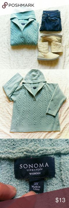 Sonoma knit hoodie *Final Price *No Offers *No Trades  Super comfortable and lounge-y feeling knitted hoodie from Sonoma (Kohl's). Sage green in size 3X The yarn feels like a yummy baby blanket!  VGUC  {10% off bundles of 2+ listings} Sonoma Tops Sweatshirts & Hoodies