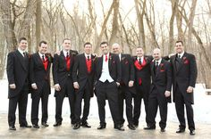 Red, Silver, White & Black Wedding Inspirations. Whole page of it! I never thought of doing the mix and match tux. I really like that idea!