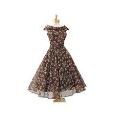 Vintage 1950's Rose Print Organza Tea Length Dress-50s Full Skirt... ($245) found on Polyvore
