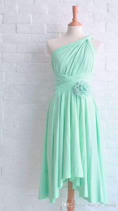 Wholesale 2015 Mint Bridesmaid Dresses Asymmetrical Neckline Pleats Hand Made Flowers Chiffon Tea Length Maid Of Honor Dresses Dhyz 01, Free shipping, $81.08/Piece | DHgate Mobile