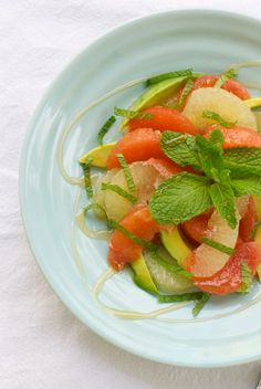 Grapefruit Salad with Avocado, Honey and Mint - Eating Made Easy