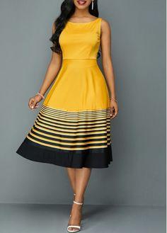 Buy Roune Neck Sleeveless Stripe Print High Waist Dress at Wish - Shopping Made Fun Cheap Dresses, Dresses For Sale, Cute Dresses, Sexy Dresses, Fashion Dresses, Summer Dresses, Women's Fashion, Xhosa Attire, English Dress