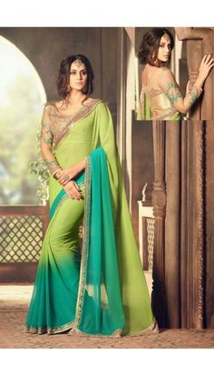 Green Georgette Saree With Blouse - DMV11142