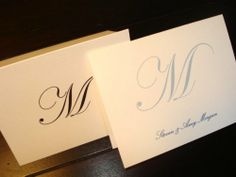 50 Personalized Note Cards with Initial Plus full name. Set of 50 with MATCHING ENVELOPES. Choose black or Slate Blue Print. A Great Personalized Gift! (Slate Blue Print) Pen & Pad Stationers,http://www.amazon.com/dp/B00G0WTB9I/ref=cm_sw_r_pi_dp_0fo9sb1ZSTXJ4WNF