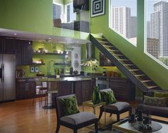 Dark cabinets and countertops, lime walls - perfect contrast!