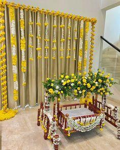 Birthday Room Decorations, Wedding Hall Decorations, Desi Wedding Decor, Backdrop Decorations, Flower Decorations, Naming Ceremony Decoration, Marriage Decoration, Cradle Decoration, Cradle Ceremony