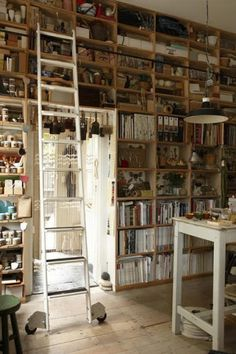 Practical with ladder & At least one wall FLOOR to ceiling shelves and nooks [artist studio] My Art Studio, Dream Studio, Studio Ideas, Studio Studio, Art Studio Design, Ceiling Shelves, Ceiling Storage, Wall Storage, Wall Shelving