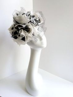 Rachel Trevor-Morgan :: Black and white pillbox with large flowers and veiling
