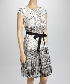 Look at this #zulilyfind! Ivory & Black Polka Dot Cap-Sleeve Dress by SL Fashions #zulilyfinds