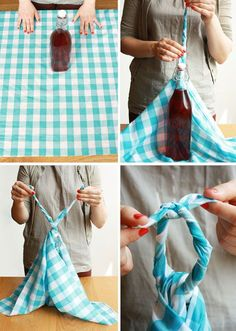 How to Make a Bottle Carrier by yomissnicole, etsy:  Furoshiki is a traditional Japanese wrapping technique that dates back as far as the eighth century. Here are instructions for both a bottle carrier and a picnic bag, each made from a square of fabric.     DIY