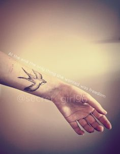 swallow tattoo - represents freedom and hope; also love, care and affection towards family and friends